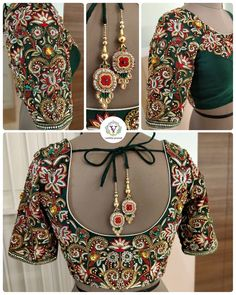 'Courage is grace under pressure' -Ernest Hemingway Just sharing few beautiful things with y'all. Emerald green raw silk custom made embellished blouse to go with silver/ gold dual tone tissue saree. Wedding Saree Blouse Designs, Pattu Saree Blouse Designs, Maggam Work Designs, Stylish Blouse Design, Designer Blouse Patterns, Emerald Green, Beautiful Things, Maggam Works, Embroidery Ideas