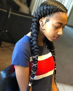 # two Braids with weave 40 New Braids Hairstyles 2019 Female Trends You Should Copy Box Braids Hairstyles, Two Braids Hairstyle Black Women, Braids Hairstyles Pictures, Braided Hairstyles For Black Women, Baddie Hairstyles, Braids For Black Hair, New Black Hairstyles, Hairstyles Videos, Simple Hairstyles