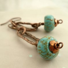 Handmade Copper and Chunky Turquoise Earrings