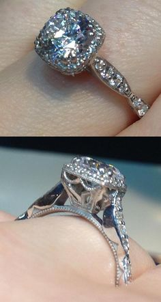 A diamond engagement ring by Tacori.