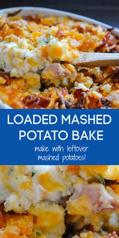 Leftover Mashed Potato Recipe: Loaded Mashed Potato Bake -With Video!Looking for a leftover mashed potato recipe? This Loaded Mashed Potato Bake casserole is the most delicious way to use up leftovers. It's loaded with bacon, cheese and sour c Loaded Mashed Potato Casserole, Potatoe Casserole Recipes, Mashed Potato Bake Recipe, Mashed Potato Soup, Potato Dishes, Food Dishes, Side Dishes, Leftover Baked Potatoes, Cheesy Potatoes