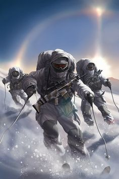Another cover artwork for Capstone Publishing's Shadow Sqdn: Phantom Sun. Cold weather operations: Tactical skis and snow suits, white kit and fluffy mits! Okay maybe not the fluffy mits, but this one was a nice change from all the desert and jungle. Armor Concept, Concept Art, Military Drawings, Military Special Forces, Future Soldier, Army Wallpaper, Military Pictures, Military Gear, Fanarts Anime