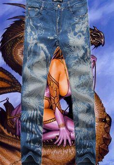 2015 nueva aceptar dragón del estilo del tatuaje diseñador del Mens impresos Jeans hombres ligeros de Color especial pintado pantalones(China (Mainland))