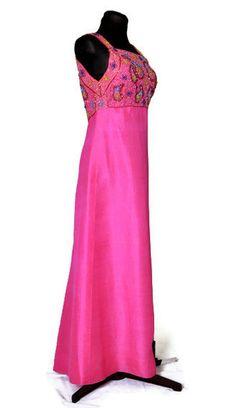 1960s dress 60s prom dress beaded silk dress by vintagerunway, $55.00