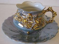 Vintage China Footed Cup | ... ,Occ, Japan,Bone China,Green Leaves, Pedestal Footed Cup & Saucer
