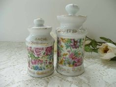 Two Pretty Vintage Floral Chinz Porcelain Apothecary Style Sachet Jars - Perfect For Vanity Or Powder Room by MossyCottage on Etsy