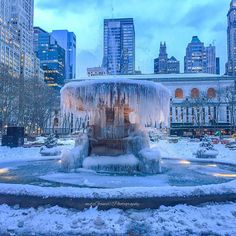 """6,431 Likes, 37 Comments - What I Saw In NYC (@what_i_saw_in_nyc) on Instagram: """"Photo by @mitzgami  The calm after the storm.. Bryant Park frozen Fountain . ❄️⛲️❄️…"""""""