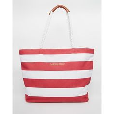 Thursday Friday Canvas Striped Beach Bag (1,990 DOP) ❤ liked on Polyvore featuring bags, handbags, red, red beach bag, stripe handbag, red handbags, canvas beach tote bag and striped canvas bag