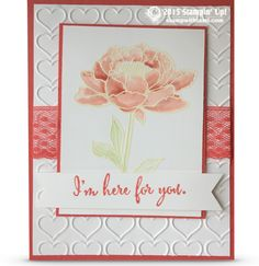 "beautiful watercoloring on today's ""I'm here for you"" sympathy card. The flower is heat embossed with white, then painted with aqua painters and ink pad refills for this beautiful effect. Design by Siara Acdal.CARD: I'm here for you flower"