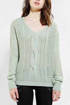 byCORPUS Open-Stitch V-Neck Sweater - Urban Outfitters