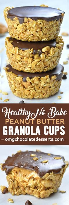 If you are looking for healthy and easy recipes to make ahead and have on hand when you need little boosts of energy these Healthy No Bake Peanut Butter Granola Cups are perfect. Recipes cookies No Bake Peanut Butter Granola Cups, great vegan snack Healthy Snacks For Kids, Healthy Dessert Recipes, Healthy Sweets, Vegan Snacks, Healthy Baking, Delicious Desserts, Yummy Food, Easy Peanut Butter Recipes, Peanut Snacks
