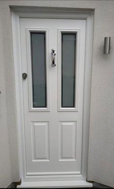 White Ludlow Composite Door. Benfleet Essex Upvc Windows, Sash Windows, Windows And Doors, External Cladding, Window Glazing, Genuine Smile, Window Replacement, Composite Door, Exterior Trim