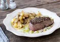 Steak mit gebratenen Topinambur-Kartoffelecken