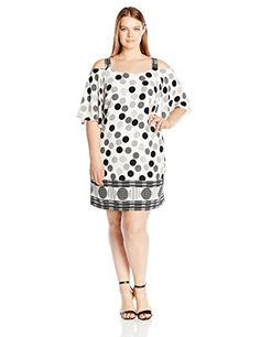4d255fedddb2c Awesome Robbie Bee Women s Plus Size Polka Dot Chiffon Crepe Cold Shoulder  Shift Dress Woman Outfits