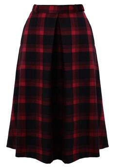 Red Plaid Check Midi Skirt