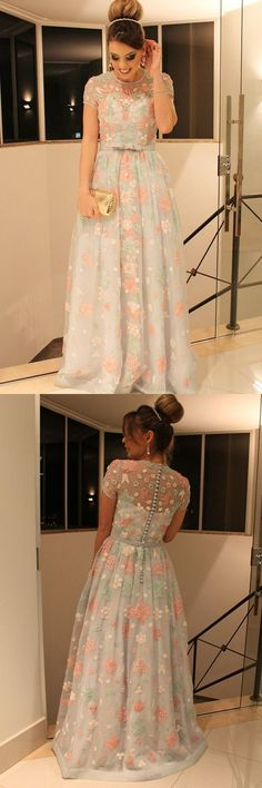 A-Line Jewel Cap Sleeves Sweep Train Mint Lace Prom Dress with Belt M1016