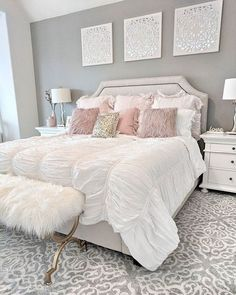 People with flair for the unusual should consider pink for the bedroom. Different shades of pink can be used for coloring walls for your bedroom. Instead of using regular shades of light or dark pink, your pink bedroom decor can… Continue Reading → Master Bedroom Design, Home Decor Bedroom, Bedroom Designs, Bedroom Furniture, Master Suite, Bedroom Curtains, Chic Bedroom Ideas, Bedroom Apartment, Budget Bedroom