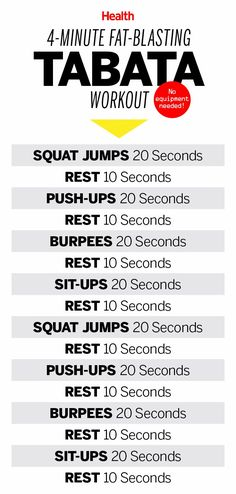 Tabata is a type of interval training that brings your heart rate up and gets you a workout in just 4 minutes. Here's a great 4-minute, fat-blasting Tabata workout for people who don't have a lot of time. | Health.com