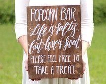 Popcorn Bar Sign, Wedding Favor Sign, Love is Sweet, Rustic Wooden Wedding Sign, Wedding Favors
