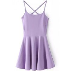 LUCLUC Purple High Waist Strappy Backless Skater Mini Dress ($23) ❤ liked on Polyvore