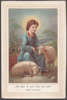 OLD HOLY CARD 1920s GERMANY SAINT JOHN WITH LAMB CHROMOLITHOGRAPH 8X5CM H47