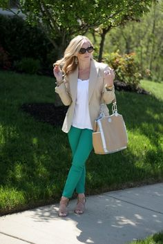 blazer and colored jeans
