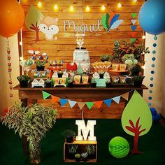 Image may contain: indoor Boys 1st Birthday Party Ideas, Baby Boy 1st Birthday, Birthday Party Decorations, Kylie Baby Shower, Baby Shower Parties, Baby Shower Themes, Woodland Theme, Woodland Party, Party Mottos