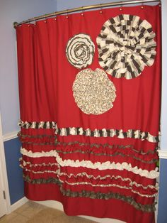 Shower Curtain Custom Made Designer Fabric Ruffles And Flowers Cheetah Leopard Red Chocolate Brown Cream Tan