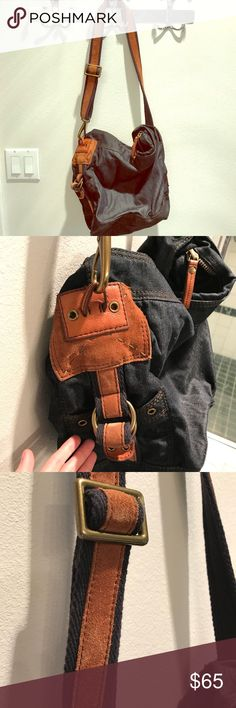 "Lucky brand dark denim and brown leather/suede bag New without tags. Purchased and never used. Beautiful, dark denim with brown suede and leather details on the sides and the strap. Bag is 15"" deep (additional 13"" for the strap, so can be worn over the shoulder as well as crossbody, though crossbody is slightly tight), 13.5"" wide. You can carry everything in this bag that matches anything! Lucky Brand Bags Shoulder Bags"