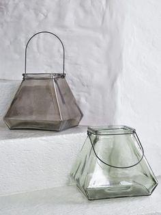 Square Glass Lanterns - Smoke Grey & Aqua