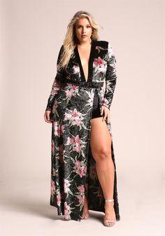 Plus Size Floral Velvet High Slit Plunge Maxi Dress Girls Maxi Dresses, Women's Fashion Dresses, Lounge Dresses, Halter Dresses, Pageant Dresses, Moda Plus Size, Plus Size Model, Plus Size Dresses, Plus Size Outfits