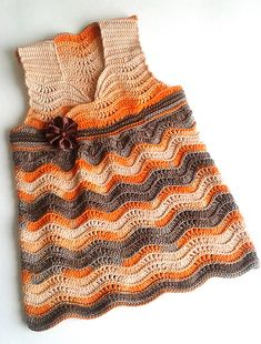 """Ravelry: tigris00s Baby Wave Top """"Orange in chocolate"""" by Lena Fedotova (seasnailshell.blogspot.com)"""