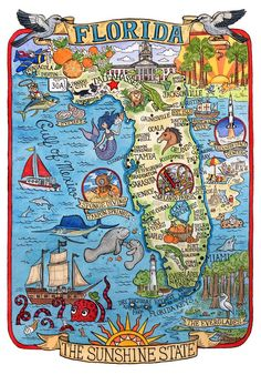 Coloring Map Of Florida Unique Florida State Map Art Print In 2019 Florida State Map, Florida Travel, Florida Maps, Vintage Florida, Old Florida, Destin Florida, Orange Beach Alabama, Pictorial Maps, Vintage Maps