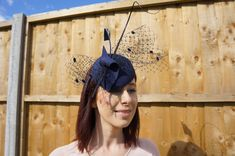 Excited to share the latest addition to my #etsy shop: Amanda Headpiece - Handmade navy velour headpiece, trimmed with veiling, a spadona and velour