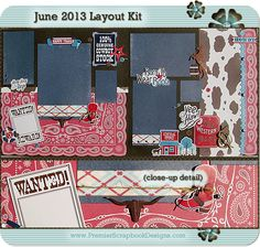 premierscrapbookdesigns.com Happy Trails scrapbooking layout kit with instructions - featured at scrapclubs.com