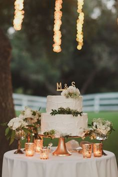 Gold Wedding Cakes copper rustic wedding, rose gold - Every detail of this simply tasteful wedding was thought out and meaningful to the couple, all the while being completely stunning for all of us to look at. Wedding Cake Table Decorations, Wedding Table Setup, Wedding Cake Display, Wedding Centerpieces, Cake Tables For Weddings, Gold Decorations, Table Centerpieces, Cheap Wedding Cakes, Icing Decorations