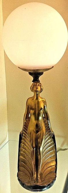 Ronson Art Deco Table lamp nude figure Flapper Signed AMW American Metal Works #ArtDeco #RonsonAMWAmericanmetalworks