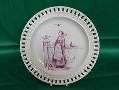 antique French faience reticulated plate Luneville 1890 3 photos