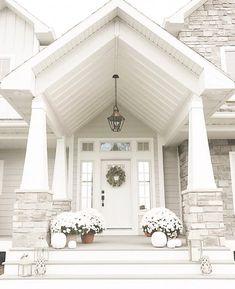 36 Pretty Farmhouse Front Porch Steps Design Ideas - Home: Living color Dream House Exterior, Exterior House Colors, Exterior Design, Stone On House Exterior, Stone House Exteriors, White Siding House, Black Trim Exterior House, Grey House White Trim, White House Interior