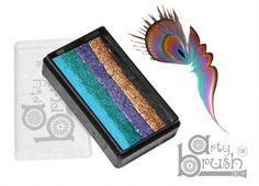 The Face Paint Shop - 28 gm ARTY BRUSH Split Cake Peacock, $12.00 (http://www.facepaintshop.com/products/28-gm-ARTY-BRUSH-Split-Cake-Peacock.html)