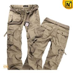 Designer Long Cargo Pants for Men CW140288 Our designer loose fit long cargo pants for men crafted from 100% cotton garment washed material, handsome seaming and pocket cutting, casual yet noble; besides metal snap and copper zipper make the pants more beautiful, also very sturdy and durable.