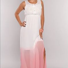 New S ombré peasant maxi dress New with tag condition. Size small. White/pink Ombré Chiffon. Lace overlay at top. Cinched waist. Double side slits. Half lining. Dresses Maxi