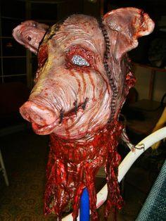 Meat locker idea or haunted barn Creepy Halloween Food, Halloween Kitchen, Halloween Horror, Diy Halloween Decorations, Holidays Halloween, Halloween Themes, Halloween Party, Haunted Halloween, Halloween Stuff