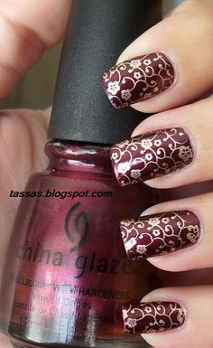 """China Glaze Short & Sassy + China Glaze 2030 + konad plate m73"""