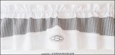Gardinen - HOME♥Scheibengardine♥VINTAGE♥weiß♥dkl grau♥Karo - ein Designerstück von rosenstuebchen bei DaWanda
