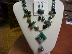 Hand made (by me) necklace set- Jasper, pearls and agate- matching ear rings by designer2 on Etsy