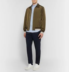 Club Monaco Button-Down Collar Cotton Oxford Shirt with olive bomber jacket and white shoes Casual Outfits, Men Casual, Button Down Collar, Club Monaco, Oxford, Bomber Jacket, Trousers, Normcore, Mens Fashion