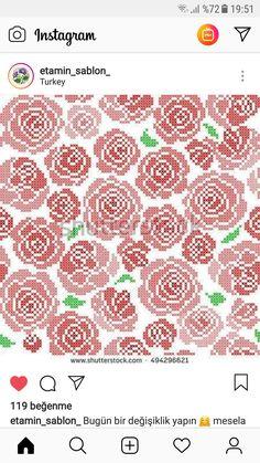 Crochet Rope, Crochet Pillow, Cross Stitch Rose, Cross Stitch Flowers, Cross Stitch Designs, Cross Stitch Patterns, Cross Stitching, Cross Stitch Embroidery, Image Chart
