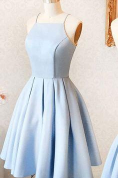 Light Blue Sleeveless Evening Dresses, Short Evening Dresses,Simple Homecoming Dress #eveningdresses #homecomingdresses #shortpromdresses #eveningdresses