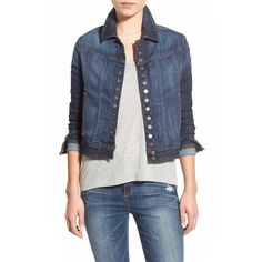Joe's 'Fahrenheit - Riding' Crop Denim Jacket ($269) ❤ liked on Polyvore featuring outerwear, jackets, charley, lightweight denim jacket, cropped jacket, joe jacket, light weight denim jacket and long sleeve denim jacket